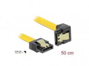 Delock SATA 3 Gb/s Kabel gerade auf unten gewinkelt 50 cm gelb