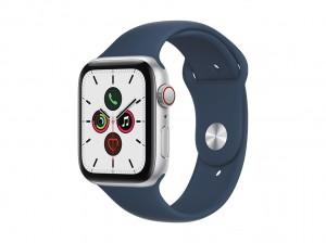 AppleWatch SE Aluminium 44mm Cellular Silber (Sportarmband abyssblau)