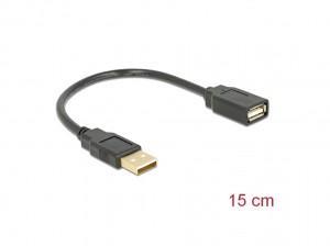 Delock Verlängerungskabel USB 2.0 A-A 15 cm Stecker / Buchse