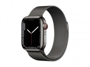 AppleWatch S7 Edelstahl 41mm Cellular Graphite (Milanaise graphite)