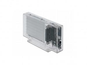 "Delock USB-C, SATA int. DUAL Gehäuse 2x2,5""(6,35cm), transparent, werkzeugfrei"