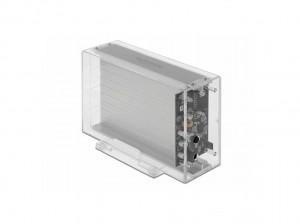 "Delock USB-C, SATA int. DUAL Gehäuse 2x3,5""(8,9cm), transparent, werkzeugfrei"