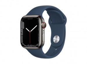 AppleWatch S7 Edelstahl 41mm Cellular Graphite (Sportarmband abyssblau)