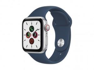 AppleWatch SE Aluminium 40mm Cellular Silber (Sportarmband abyssblau)