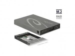 Delock Externes Gehäuse 2 x M.2 Key B SSD > USB 3.1 Gen 2 USB Type-C™ Buchse mit RAID