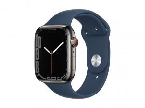 AppleWatch S7 Edelstahl 45mm Cellular Graphite (Sportarmband abyssblau)
