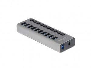 Delock USB 3.0 Hub mit 10 Ports, einzeln schaltbar