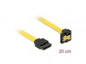 Delock SATA 6 Gb/s Kabel gerade auf unten gewinkelt 20 cm gelb