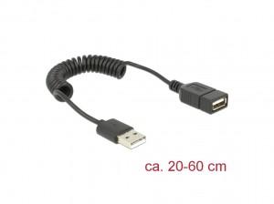 Delock Verlängerungskabel USB 2.0-A Stecker / Buchse Spiralkabel